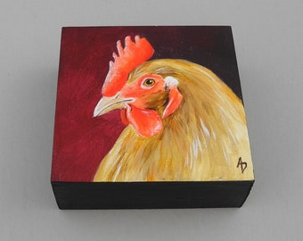 Rooster painting, original chicken art, realistic rooster art, farm decor, barnyard chicken painting, red rooster, small painting