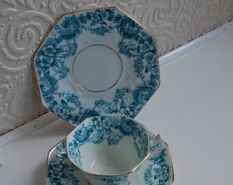 Antique Idris Floral Design Trio (Cup, Saucer &  Plate), Blue and White with Gilded Edging