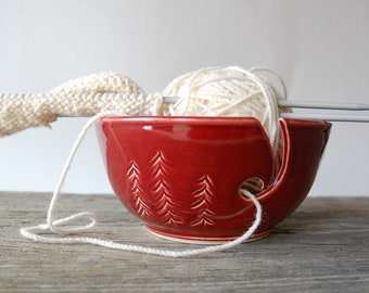 Three Pines ceramic yarn bowl, crochet bowl, pottery wool bowl, wheelthrown yarn bowl, knitter's bowl, unique bowl, pottery gift