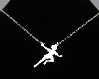 Peter Pan necklace, Sterling Silver Peter Pan Pendant, Fairy pendant, Handmade Peterpan Jewelry Solid Sterling Silver