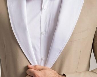 White Satin Peak Lapel & Bow Tie Set
