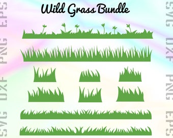 Wild Grass SVG Files - Grass Dxf Files - Grass Clipart - Grass Cricut Files - Grass Cut Files - Grass Silhouette - Svg, Dxf, Png, Eps