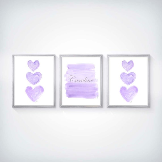 Lavender and Silver Baby Room Decor with Custom Name, Set of 3-8x10 Prints