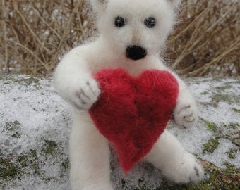 Needle Felted Polar Bear Cub, Teddy Bear Poseable