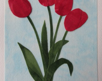 Red Tulip Fabric Note Card