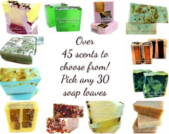SOAP | 30 assorted 3.5 lb Handmade Soap Loaves, Wholesale Soap, Vegan Soap, Soap Gifts, Wedding favors, Shower Favors, FREE SHIPPING