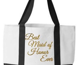 Maid of Honor Gift Wedding Tote Bag Bridesmaid Tote Bridal Party Tote Bridesmaid Tote Bags Maid of Honor tote bag bridesmaid gifts monogram