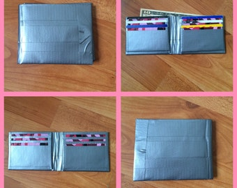 Silver and Pink Camo Duct Tape Wallet