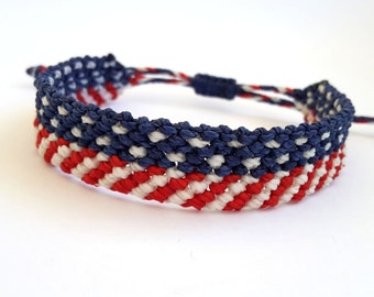 USA flag Bracelet, 4th of July Bracelet, Macrame Bracelet, Independence Day Bracelet