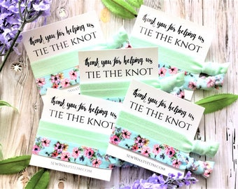 Wedding Gift Hair Tie Favors | Thank you for helping us Tie The Knot | Wedding Favors | Bridesmaid Gift | Hair Ties | 2ct