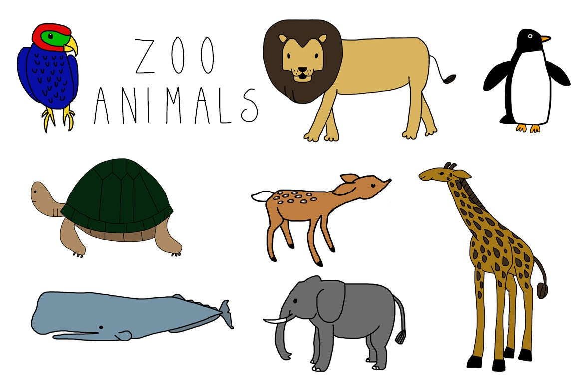 zoo animals clip art instant download personal or rh etsy com zoo animal clip art images zoo animal silhouette clip art