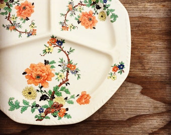 Antique Divided Serving Plate - Floral Plate