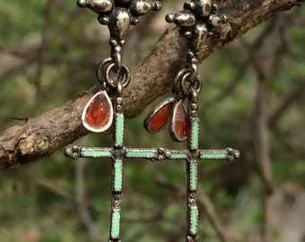 Silver, turquoise, and carnelian dangles cross earrings