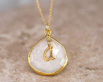 White Agate Necklace, Script Initial Necklace, White Stone Pendant, Monogram Necklace, Custom Christmas Gift for Sister, Personalized Gifts