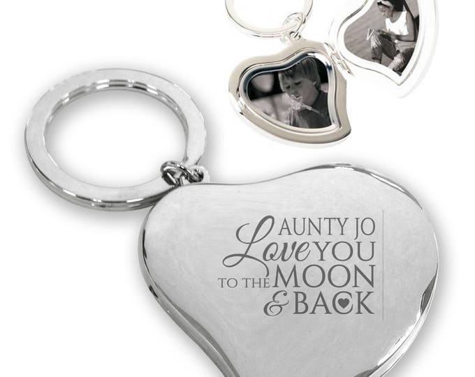 Personalised engraved AUNTIE AUNT silver plated heart LOCKET keyring gift idea - Love you to the moon and back - presentation box  - KT4