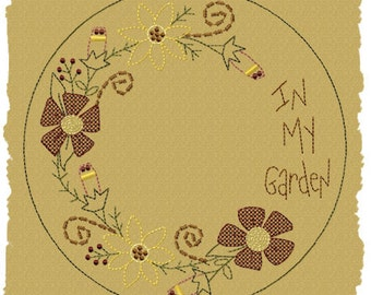 MACHINE EMBROIDERY-In My Garden Candle Mat--8 INCH-Colorwork-Motif Stitch-Instant Download