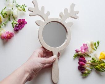 Vintage hand mirror Christmas deer gift Deer mirror Wooden hand mirror Safety mirror