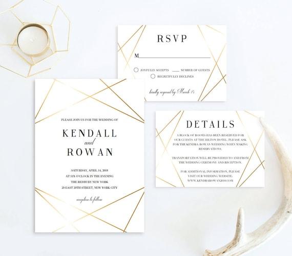 Geometric Wedding Invitation Suite Modern Wedding Invitation