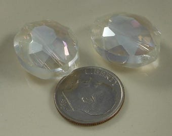 Large Faceted Oval Crystal Beads 20x16mm Crystal AB (Qty 2) PH20x16OVL-CrysAB