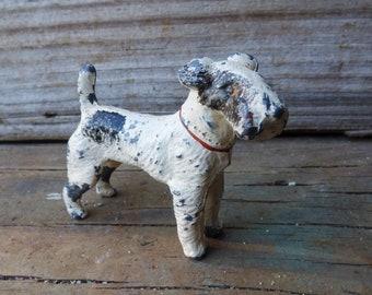 Vintage lead dog miniature Wheaten Terrier toy animal