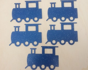 Blue Glitter Card Train Embellishments x 5 pieces