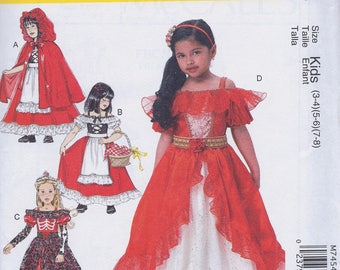 McCall's M7454 Girl's Princess Little Red Riding Hood Halloween Costume Party Dress UNCUT Size 3-8 Sewing Pattern