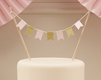 Pastel Pink and Gold Bunting Cake Topper - Perfect for any occasion - Wedding, Birthday, Christening
