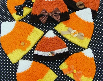 Crochet Hat Patterns Candy Corn Hat Pattern INSTANT DOWNLOAD - Infant Crochet Pattern - No. 66