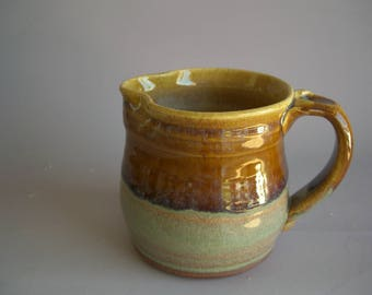 Hand thrown stoneware pottery small pitcher    (P-5)