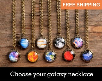 Personalized necklace, space jewelry, galaxy necklace, space necklace, custom planet, personalized gift, birthday gift for her, women gift