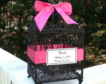 Large Wedding Birdcage Cardholder / Custom Bird Cage for Money Gift Cards / Shabby Chic Romantic Wedding