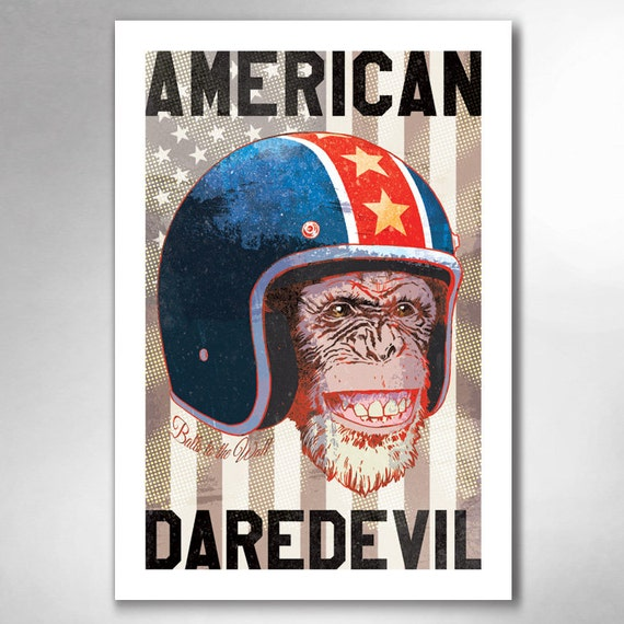 AMERICAN DAREDEVIL Chimp 13x19 Art Print by Rob Ozborne