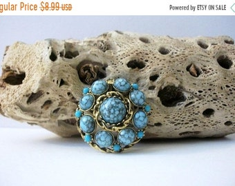 ON SALE Vintage DAG Stamped Gold Tone Speckled Turquoise Acrylic Faux Stones Metal Pin 42118