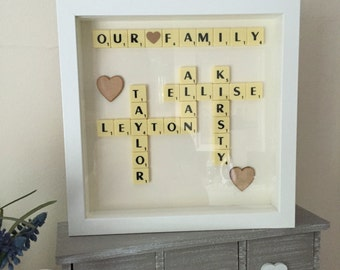 Personalised Scrabble frame  scrabble wall Art Picture box Frame