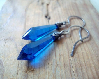 Bright Blue Dagger Earrings Vintage Lucite Sterling Wire Wrapped Statement Jewelry Geometric Jewelry September Birthstone Gifts For Her