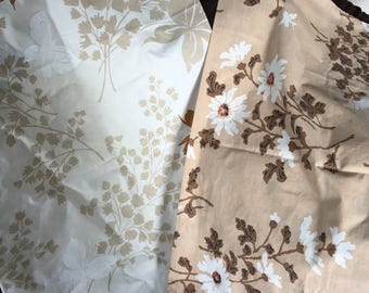 Vintage pillowcase pair mix brown butterfly flowers st marys springs beige earth tones neutral botanical boho hippie bedroom