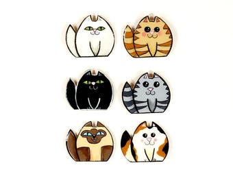 Six Piece Crazy Cat Lady Magnet Set, Cat Lover's Gift, Calico Ginger Siamese Cat Art, Handpainted Cat Magnets, Wooden Fridge Cat Magnet Set