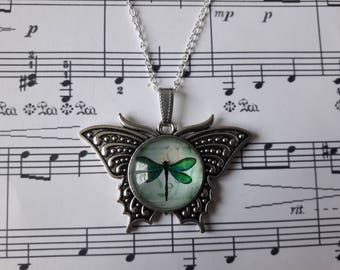 Silver Butterfly pendant and glass - Dragonfly cabochon