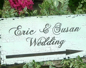 Personalized Directional Wedding Sign Wood Wedding Sign Ceremony Wedding Sign  Custom Sign Name Sign