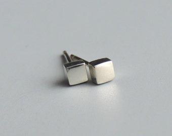 Quadratische Ohrstecker Ohrringe Sterling Silber kleine quadratische Ohrstecker Silber Ohrstecker
