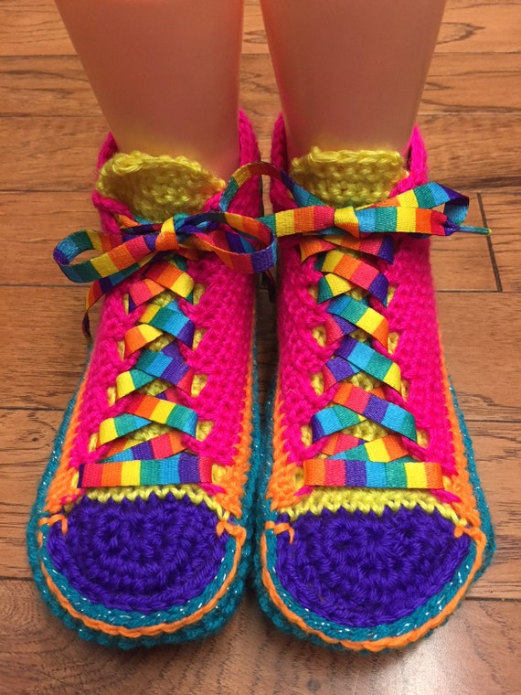shoes tennis rainbow Crocheted crochet Womens crocheted rainbow shoes slippers tennis 6 shoes tennis 385 Listing 8 slippers sneakers sneaker xPYR1P