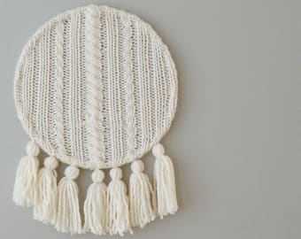 """DIY Knitting PATTERN - Cable Knit and Tassels Wall Hanging  Size: 12"""" diameter (2015017)"""
