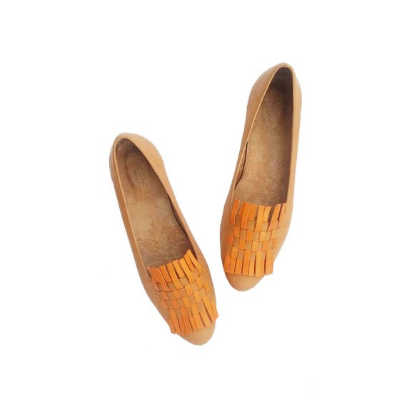 Woven shoes leather flat flat handmade leather handmade shoes Woven Woven flat qXE1dE