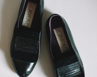 Vintage Joan and David Slip-On Loafer / Black Oxford Suede and Leather Loafers Sz 7 EU 38 / Vintage Black Leather Loafers