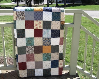 Full Size Custom Made Patchwork Quilt. Classic Double Bed Quilt. Twin Size Quilt. Wedding Gift. Primitive Americana decor. Quilted bedding