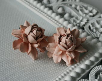 Soft pink rose leather earrings