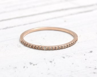 Tiny Cognac Diamonds Thin Band Solid Gold Ring