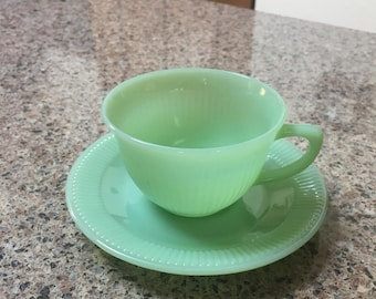 """Jadeite """"Jane Ray"""" Cup and Saucer - Set of 2"""