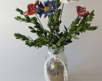 Ceramic Flowers in glass vase
