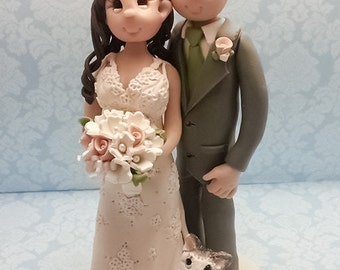 Bride and Groom with Cat  Wedding Cake topper